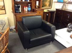 Black Leather Chair - New!  Item 349-37. Price $350.00   - http://takeitorleaveit.co/2017/06/25/black-leather-chair/