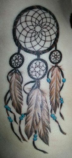 colored dreamcatcher tattoo. I have a new love for dream catchers