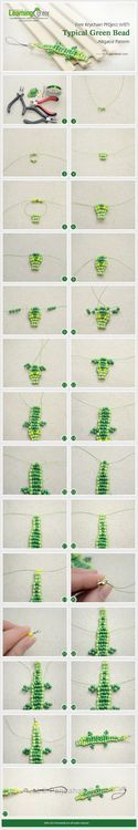 Jewelry Making Tutorial-DIY Keychain with Typical Green Bead Alligator Pattern   PandaHall Beads Jewelry Blog