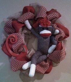 Sock Monkey wreath for Brittany's baby shower Sock Monkey Crafts, Sock Monkey Party, Monkey Baby, Diy Wreath, Burlap Wreaths, Wreath Ideas, Classroom Crafts, Classroom Ideas, Baby Boy Shower