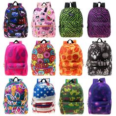 b2c325760e Wholesale Kids Classic Padded Backpacks in 8 to 12 Randomly Assorted Unique  Prints - Bulk Case of 24 Bookbags