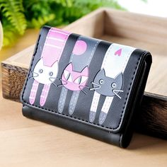 455d789a545f5d Women Wallets Lovely Purse Cats Print 3 Fold Leather Wallet Mini Card  Holder Purse Girls Zipper Multiple Id Cards New Brand