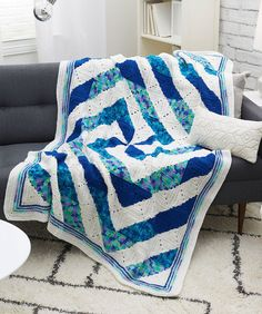 Twirling Crochet Throw By Brenda Leigh Bennett - Free Crochet Pattern - (redheart) Crochet Mittens Pattern, Afghan Crochet Patterns, Crochet Squares, Granny Squares, Knit Patterns, Crochet Afgans, Crochet Yarn, Free Crochet, Crochet Blankets