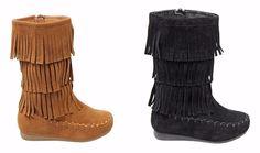 Latest Fashion Children's Girls Three Layer Fringe Moccasin Mid-Calf Boot Shoes | eBay