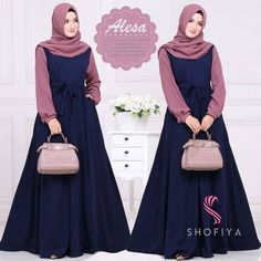 blue and pink ! Muslim Women Fashion, Islamic Fashion, Abaya Fashion, Fashion Dresses, Estilo Abaya, Hijab Style Dress, Abaya Designs, Muslim Dress, Islamic Clothing