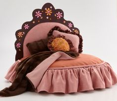 Pink and orange tiara pet bed with rhinestone flower by Judio9, $375.00