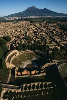 The ruins of Pompeii with Mount Vesuvius