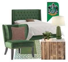 """""""Slytherin inspired bedroom"""" by hogwartsinspired on Polyvore featuring interior, interiors, interior design, home, home decor, interior decorating, Madeline Weinrib, CB2, Vance and Fresh American"""