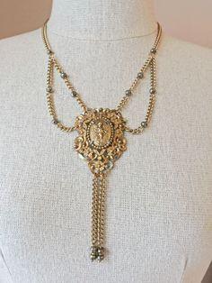 Vintage Art Nouveau Filigree Gold Gilt Cherub Cameo Festoon Chain Necklace  #Vintage #Pendant