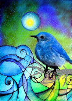 Moondust   5 x 7 art on wood...SALE here   http://www.facebook.com/RobinMeadDesigns  by Robin Mead