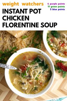 This WW IP Chicken Florentine Soup has SO much flavor. You can also reduce the points value by using less parmesan (take it out completely to make this a 0 point recipe for blue and purple plans). Weight Watchers Enchiladas, Weight Watchers Soup, Weight Loss Soup, Can Chicken Recipes, Whole Food Recipes, Cooking Recipes, Meal Recipes, Weight Watcher Chicken Soup Recipe