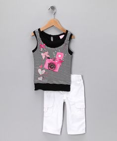 Take a look at this Black Stripe Camera Tank & Pants - Infant, Toddler & Girls on zulily today!