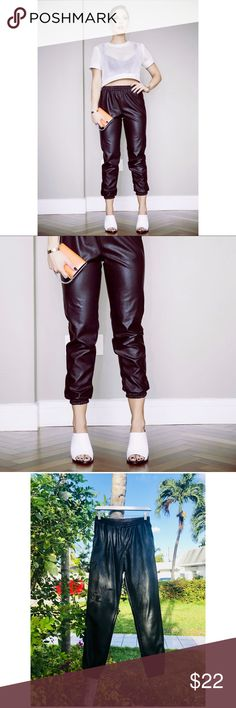 🖤NASTY GAL🖤 Vegan Leather Joggers S This right here is absolutely one of my most loved wardrobe staples, and now it can be yours!! Nice relaxed fit, but fancy enough for da club 🔈 there are some super small and faint marks throughout, and the back seam is starting to split. Please see pics. Price has reflected this🤑💚   Selling my WHOLE closet to lead a mobile lifestyle soon  💖   Priced to sell quickly, everything must go so make me an offer 🤗‼️Poshmark rules only‼️ ❌ no trades ❌ leave…
