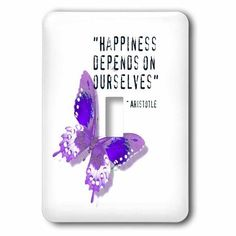 3dRose Happiness Quote Purple Butterfly Inspiration Spirituality, Single Toggle Switch