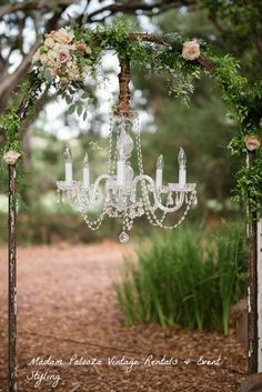 We enjoyed working with the Bride to bring her dream wedding together at the gorgeous Temecula Creek Inn. We used our spectacular Iron Arches with our Audrey chandeliers for the ceremony. Rentals & Styling: Madam Palooza  Venue: Temecula Creek Inn  Photography: Sweet Tea Photography