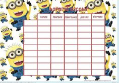 Print minions school schedules-Images and drawings to print - Print minions school schedules-Images and drawings to print - Minion School, Minion Classroom, Timetable Planner, Diy And Crafts, Paper Crafts, School Schedule, Borders For Paper, Drawing S, About Me Blog