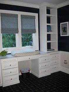 built in desk and shelves