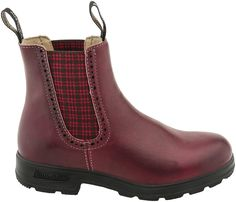 Blundstone Ladies New Original work boot, Women, Quite possibly the most durable, most comfortable boots ever made, PlanetShoes.com (Burgundy/Red Tartan Elastic)