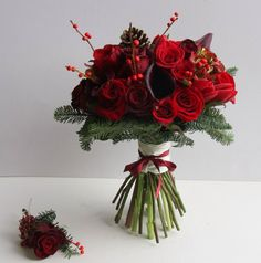 #Christmaswedding Bouquet and Boutonniere / Flower Design Events