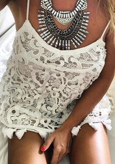 Tribal Boho Statement Necklace #fashion #outfit #style #white - 19,90 € @happinessboutique.com