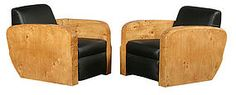 Pr of Art Deco Burled Wood Club Chairs In Black Leather, 1920's..............