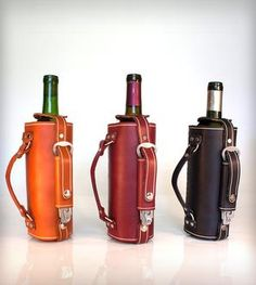 Leather Wine Bottle Carrier with Opener