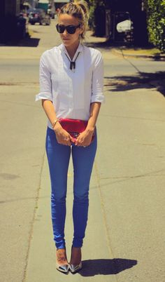 coloured jeans and contrasting colours