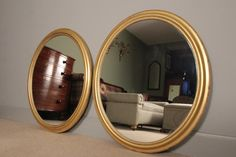 A Large Pair of Giltwood Oval Mirrors - Mirrors - William James Antiques & Interiors Ltd