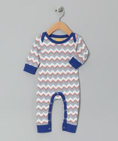 Take a look at this Royal Blue Chevron Organic Playsuit - Infant by Boys on #zulily today!