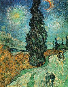 Vincent Van Gogh - Route avec cyprès et ciel étoile