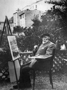 Pierre Auguste Renoir - leading painter in the development of the Impressionistic style. He painted during the last twenty years of his life, even when arthritis severely limited his movement, and he was wheelchair-bound. Pierre Auguste Renoir, Famous Artists, Great Artists, Artist Art, Artist At Work, August Renoir, Renoir Paintings, Impressionist Art, French Artists