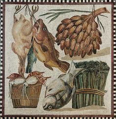 Fish and vegetables hanging up in the cupboard, still-life. Mosaic, Roman artwork, 2nd century CE. From the villa at Tor Marancia, near the Catacombs of Domitilla.Roman Mosaic. Food. Tor Marancia Villa. Rome, Italy.