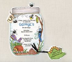 Personalized and Handcut Invitations - Birthday Party Invitations - Bug Jar Birthday Party Invitations - Insect Party -Set of 24