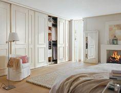 master bedroom with huge closet and a small fireplace. Master Bedroom Closet, Bedroom Wardrobe, Built In Wardrobe, Bedroom Wall, Bedroom Decor, Wardrobe Doors, Closet Doors, Spanish Home Decor, Dressing Room Closet