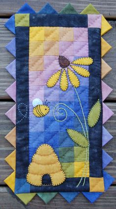 Cozy Beehive Wall Quilt and Yoyo Candle Mat Kit by donnaburkholder, $20.00