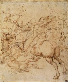 Cartoon for St George and the Dragon. c. 1506. Pen and ink over black chalk, 263 x 213 mm. Galleria degli Uffizi, Florence.