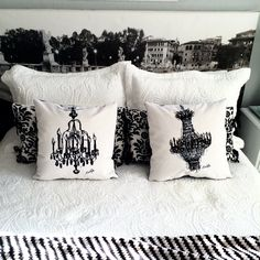 "CHANDELIER pillows ""Audrey and Brigitte"" $150 each by Michelle Vella and headboard ""Bernini's 10 Angels"" by Michelle Vella and Halo Headboards. Visit michellevella.com and haloheadboards.com"