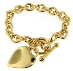 "24k GOLD PLATED HEART TOGGLE BRACELET 7 1/2"" LINK CHAIN"