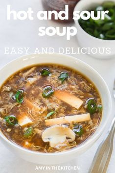 Hot and Sour Soup is an easy and authentic recipe that taste just like your favorite Chinese take-out! It's a healthy recipe that can be made in under 30 minutes! chinese food Hot and Sour Soup Asian Dinner Recipes, Asian Recipes, Chinese Recipes, Asian Foods, Healthy Soup Recipes, Cooking Recipes, Kitchen Recipes, Veggie Recipes, Lunch Recipes