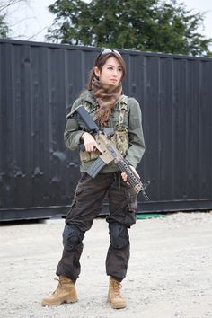 Airsoft Player in Japan. Fashion Photo Woman. #Alpha Industries. Japanese Model 矢吹春菜 #Military #girl #gun #combat