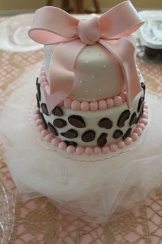 baby shower cake with leopard print...made by my good friend!