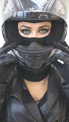 Erin Brady in helmet with beautiful eyes - Cafe Racer Girl - Motorrad Motorbike Girl, Motorcycle Style, Motorcycle Helmets, Motorcycle Accessories, Cafe Racer Girl, Lady Biker, Biker Girl, New Motorcycles, Bike Rider