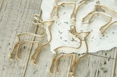 4 pcs Open Back Bezel Charms / Beautiful Fawn (21mm40mm) AZ467 by Candydecoholic on Etsy