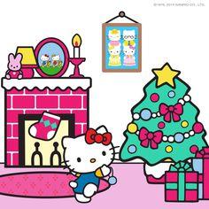 Hello Kitty Christmas Tree, Christmas Cats, Christmas Greetings, Hamster Names, Pochacco, Sanrio Hello Kitty, Childhood Friends, My Melody, Cat Art