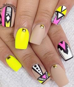 Neon matte tribal nails