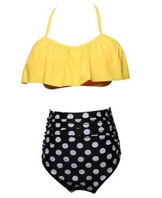 e567e6ad35 Ruffle Flounce Crop with High Waist Bottom Bikini Sets Bikini Set