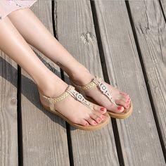 12019f97e61c5f Woven Metal Rhinestone Flat Sandals