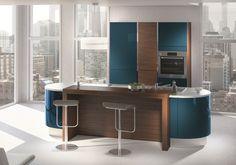 Gaia kitchen in peacock blue satin lacquer