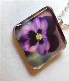 Purple Pansey, Square Photo Pendent, Cast in Resin by KCCustoms on Etsy