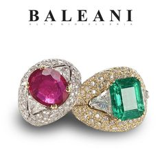 414cc1be70d6 Which one of these  BoccaDiSqualoRing would you like   BaleaniAltaGioielleria  ring  emerald  ruby  diamonds